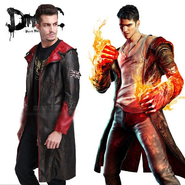 Devil May Cry DMC Dante Cosplay Costume Black and Red Pleather Coat JacketОдежда и ак�е��уары<br><br><br>Aliexpress