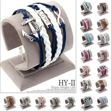 2014 Hot-selling Braided Leather Infinity Love Anchor Bracelet for Men And Women
