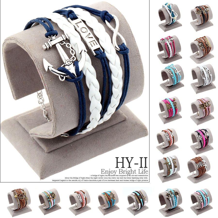 Hot Multilayer Braided Charm Leather Anchor Bracelet Ancla Hunger Games jogos vorazes Bracelets Bangles pulseira masculina couro(China (Mainland))