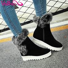 Vallkin 2016 moda zapatos de las mujeres friegan botas de nieve caliente invierno de la piel cuña de Tacón Med Botines Mujeres Botas de Felpa Corta Tamaño 34-43(China (Mainland))
