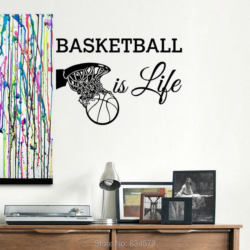 Sports teen basketball is life wall art sticker decal home for Teen wall decor