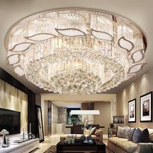 Remote control round flush mount crystal ceiling lamp led bedroom light decoration home lighting 100-240V D65CM/D80CM luminaire(China (Mainland))