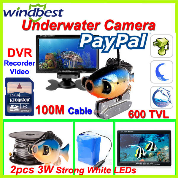 """100M Cable HD 600 TVL 7"""" TFT Color LCD CCTV Underwater Fishing Camera Fish Finder DVR Record Video 2pcs Strong Array White LEDs(China (Mainland))"""