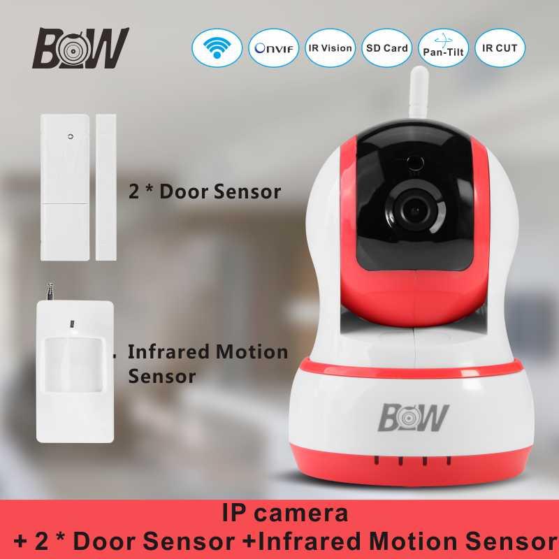 Mini Security Camera System PTZ Onvif Camera +2 Door Sensor +1 Infrared Motion Sensor Email Alert Alarm Wireless IR Cut BW13P(China (Mainland))