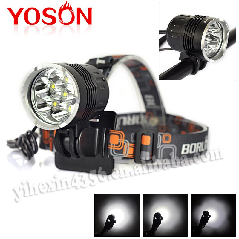 10000 Lumen 6T6  4-Mode LED Bicycle head Light 6* XM-L T6 LED Bike Light Headlmap +6400mah Battery Pack+ Headland + Rubber ring<br><br>Aliexpress