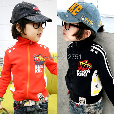 2015 New Boy Hoodies Children Jackets Autumn Handsome Boys kids Clothing Baby Outerwear  Orange Black