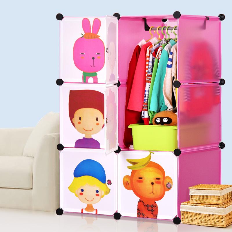 Suo Ernuo cartoon baby infant child children simple wardrobe closet wardrobe combination plastic assembly(China (Mainland))
