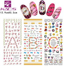 HOT169-171 2016 KADS Beautiful Flowers Bow Tie & Irregular English Words Water Nail Sticker Popular Design for Nail Decals