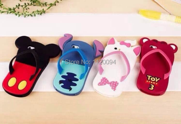 design 1pc/lot freeshipping Lilo 3D Cartoon Stitch slippers Soft Silicone Case Cover Apple iPhone 4 4G 4S 5 5G 5S