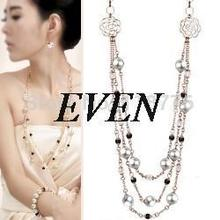 Quality gift multi-layer pearl crystal camellia necklace personalized necklace hot-selling – 2844