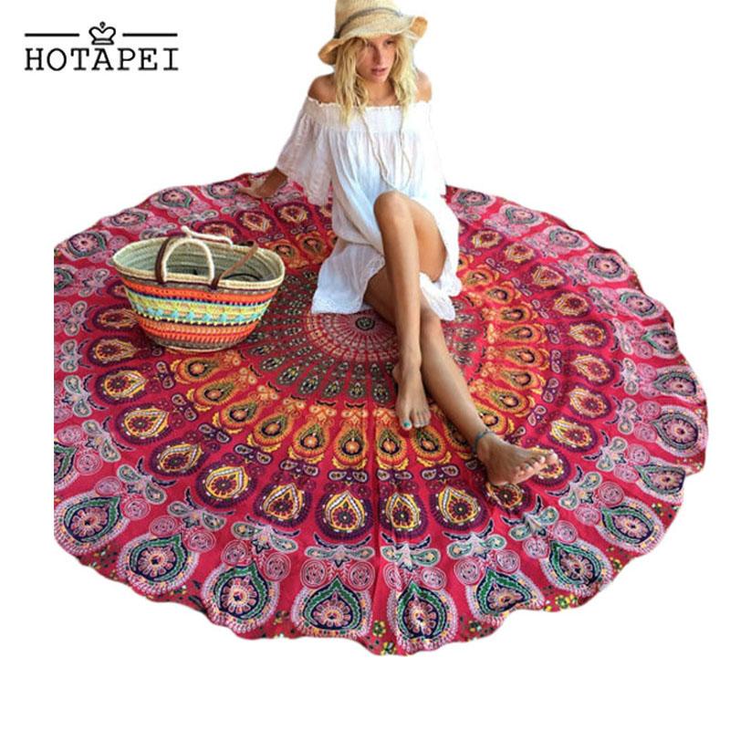 Hotapei High Quality Beautiful Women Hot Cheap 2016 Holiday Beach Peacock Print White Boho Beach Blanket LC42041(China (Mainland))