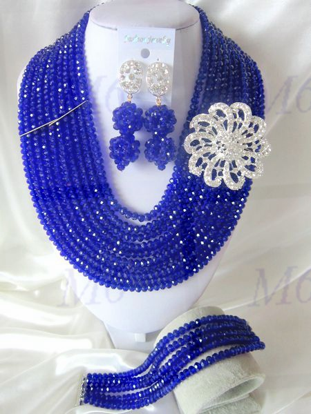 2015 Fashion african crystal beads necklace set nigerian wedding african beads jewelry set Free shipping P-1615<br><br>Aliexpress