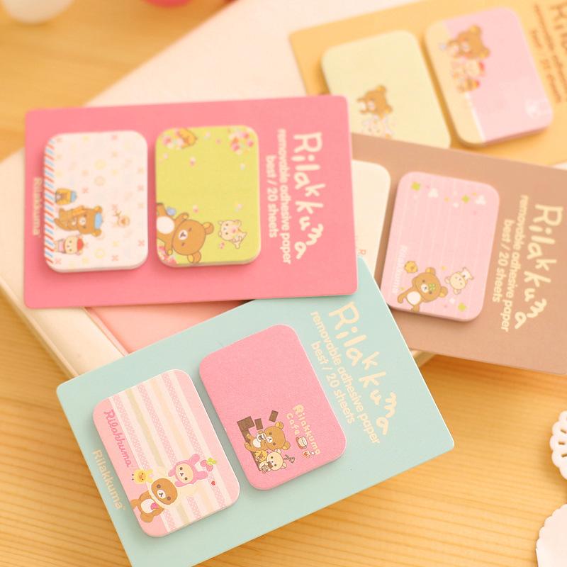 WHOLESALE Cute Memo Sticker Sticky Notes Rilakkuma Girl Kawaii Animal Pads Stationery N Times Posted 80packs/lot say hi 50603(China (Mainland))