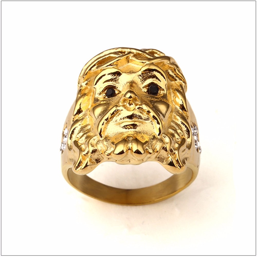 Mens Religious Jesus Face Ring CZ Ice Out Crystal Cubic Zirconia Gold Rings with Stones Gold Tone Jesus Hip Hop Style Ring