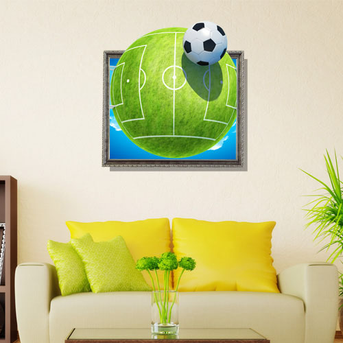 Free Shipping football 3d ceramic tiles printer removable wallpaper wall mural art decals vinyl sticker home decor 58*59.7cm(China (Mainland))