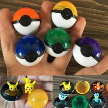 5 pcs/lot Pokemon Ball With Pikachu Action Figure Pokeball Crystal Pet Charmander Stickers Plastic Game Ball Kid Gift Toy(China (Mainland))