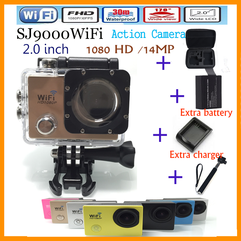 Sports camera SJ9000 WIFI 1080P 2.0 inch 170 degree 30M waterproof Extra Battery and Charger and Monopod and Carrying bag<br><br>Aliexpress