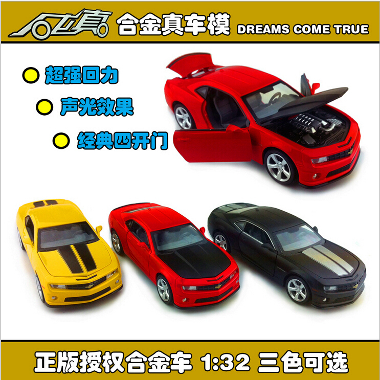 1:32 Chevrolet Camaro Bumblebee Diecast Car Model toy Sound&Light Yellow Red Black options model car gift free shipping(China (Mainland))