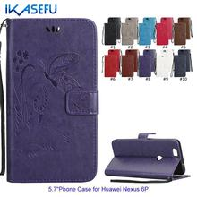 Buy IKASEFU Embossed Butterflies PU Leather Stand Phone Case for HUAWEI Nexus 6P Wallet Flip Cover Magnet Closure Card Holder for $3.89 in AliExpress store