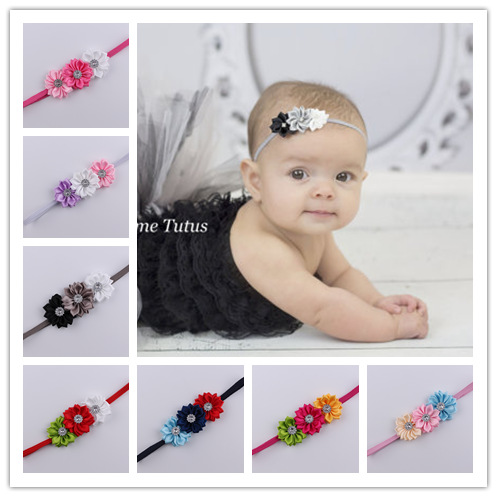 2016 Baby newborn infant headbands thin elastic rhinestone Headband fabric flowers for headbands children hair accessories(China (Mainland))