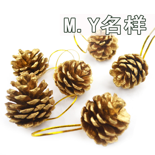 6 pcs shining lovely pine cone of Christmas tree  Indoor Christmas decoration