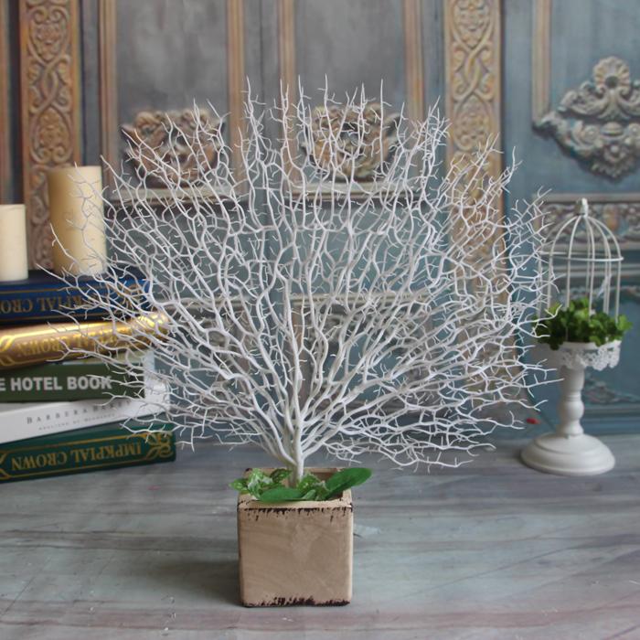 Pavo Real blanco coral Artificial ramas de los árboles PlasticArtificial flores inicio Boda Decorativo de alta Paisajismo Acuario 45 cm(China (Mainland))