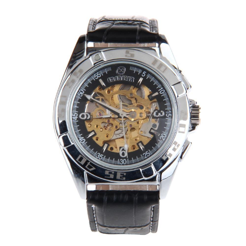 HY-020 Men's PU Leather Strap Zinc Alloy Auto Mechanical Wrist Watch - Black + Silver(China (Mainland))