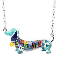 Bonsny Men Statement Maxi Pet Dachshund Chó Choker Vòng Cổ Hợp Kim Pendant Chuỗi Cổ Áo 2018 New Animal Trang Sức Cho Nữ Gift(China)