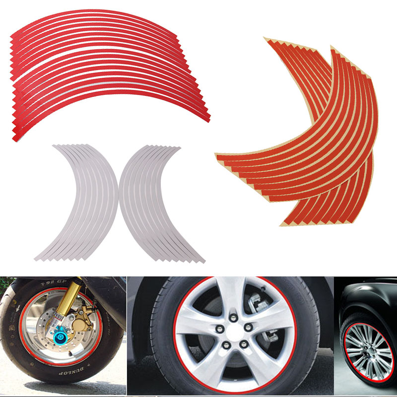 "16Pieces/Set Univesal Car Motorcycle Motocross DIY 17""-19"" Reflective Wheel Rim Stripe Tape Stickers Decal Red/Orange/White New(China (Mainland))"