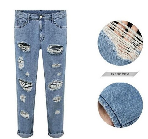 Fashion retro autumn 2014 finishing washed denim trousers roll-up 9 hem pants ripped jeans woman239 - Online Store 416591 store