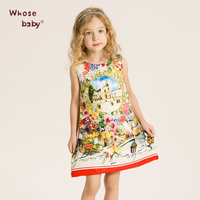 Kids Dress Print Flower Party Dresses For Girls Princess Vest Fashion Girl Beautiful Teenage Ball Gowns Meisjes Frock Fille(China (Mainland))