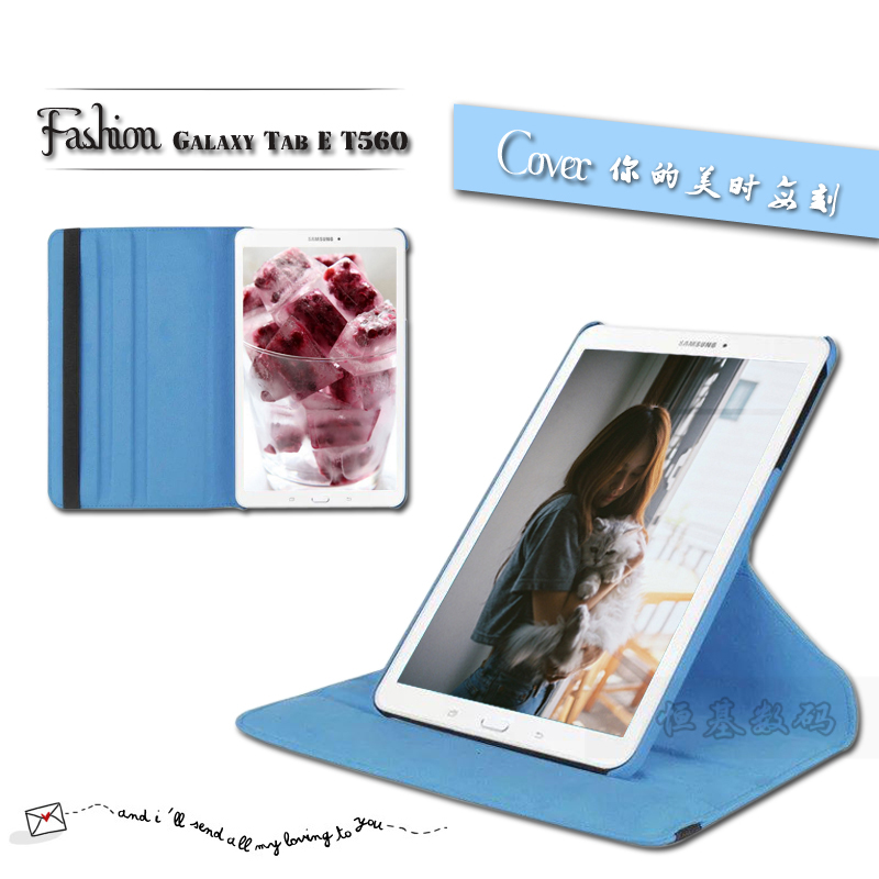 New Products Luxury 360 Rotating Flip Leather Stand Case Cover Tablet Case for Samsung Galaxy Tab E T560 T561 case Free shipping(China (Mainland))