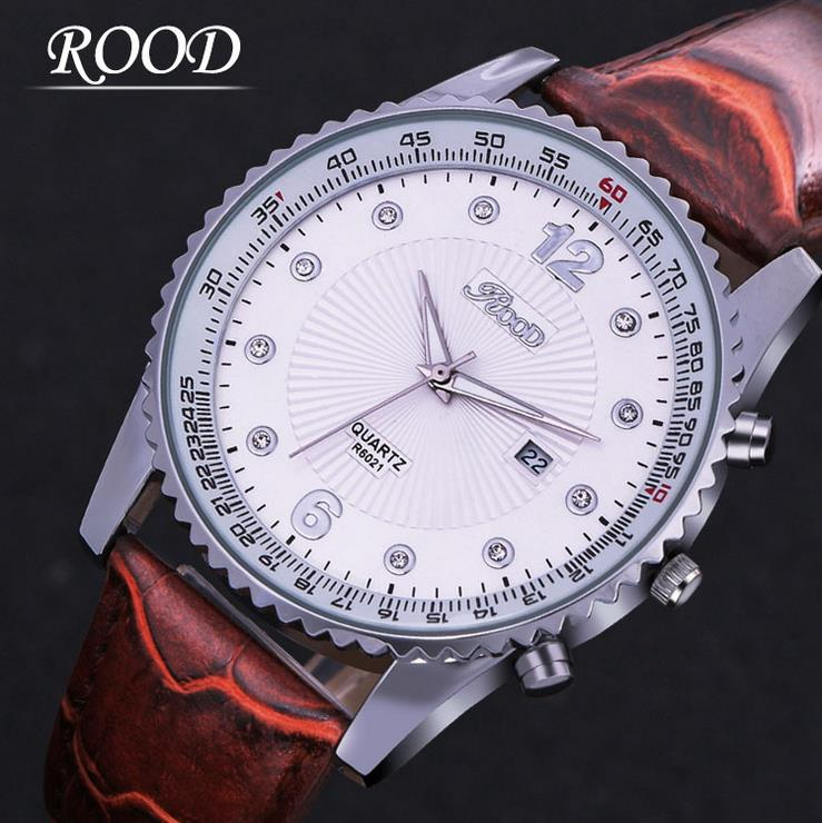 Brand ROOD R6021 Men's Business Watches Leather Band Calander Casual Waterproof Shock Resistant Quartz Fashion orologio uomo(China (Mainland))