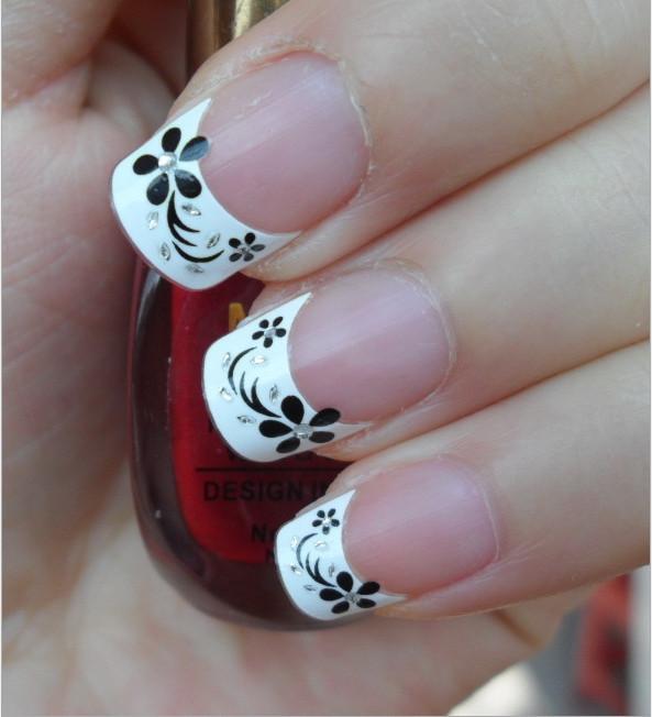 1sheet nail decals sticker beauty flower glitter rhinestone Nail Art franch style nail wraps Free shipping(China (Mainland))