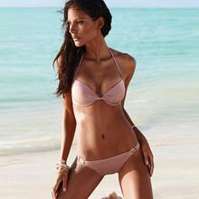 2016 Summer New Bandeau Women Sexy Hot Bikini Two 2 Piece Set Halter Top Push Up Swimsuits Swimwear Bathing Suits