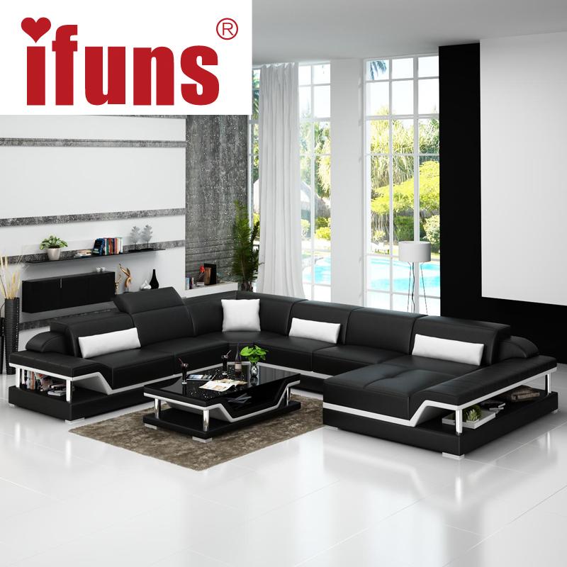 IFUNS u shaped black genuine leather modern sectional sofa top grain luxury sofa sets living room furniture (fr)(China (Mainland))