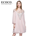 2016 Elegant Fairy Casual Loose Waist Long Lantern Sleeve Knee length Beading Silk Chiffon Summer Dress