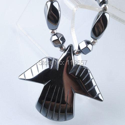 "Free shipping Black Non magnetic Hematite Gem Beads Wild Pendant Necklace 17 1/2 "" Fashion Jewelry IF618(China (Mainland))"