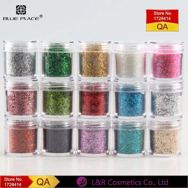 Blue Place Acrylic/Gel Nail Art Glitter Paillette 14 Colors Dazzling Glitters Powder Shining Laser Dust Free Shipping(China (Mainland))