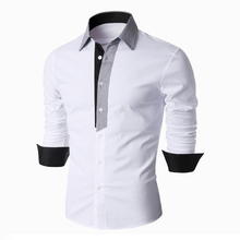 2016 Brand New Spring Fashion Men Patchwork Dress Shirt Long Sleeve Shirts Slim Fit Cotton Camisa Social Masculina 13M0550 - WildSwan Store store