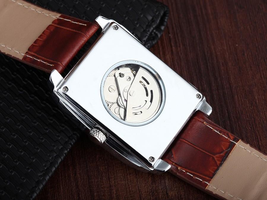 ПОСЕТИТЕЛЬ модного бренда мужская кожаная часы Площадь Световой механическая Автоматическая водонепроницаемый Скелет мужчины Наручные часы движение