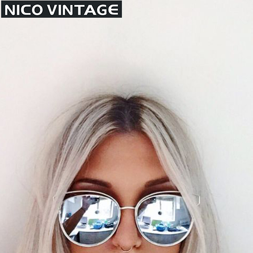2016 New Flat Mirror Sun Glasses For Women Gold Frame lunette de soleil femme Metal Cateye Shades Chic Ladies Summer Sunglass(China (Mainland))
