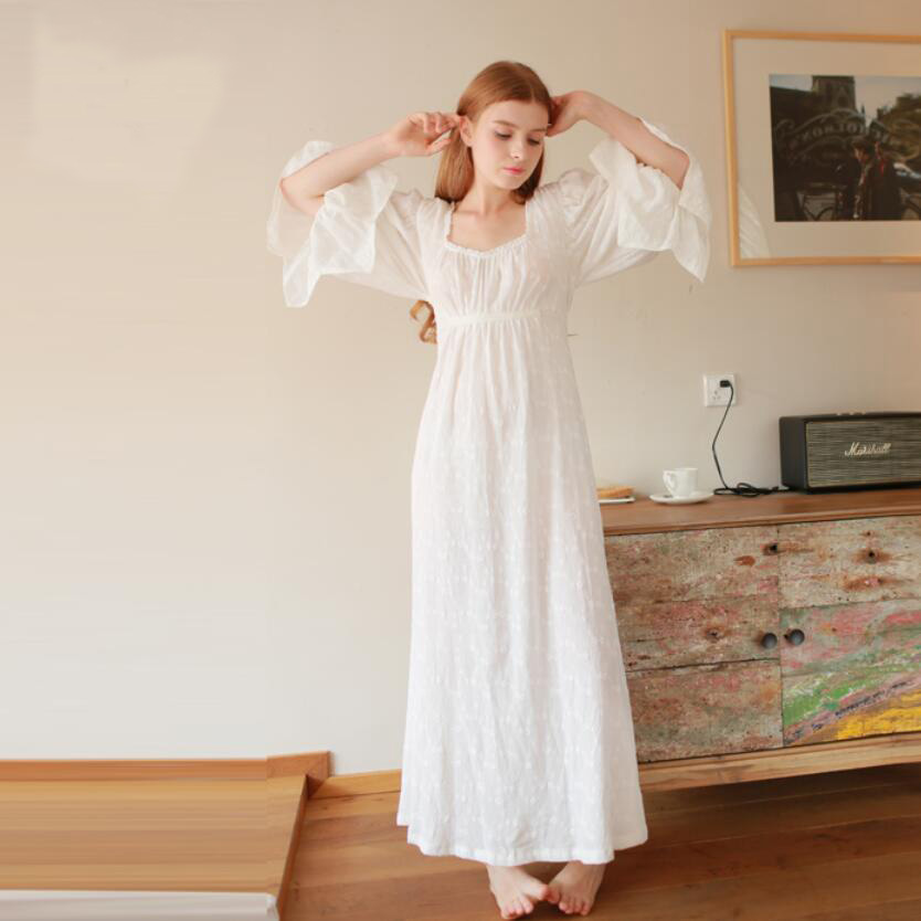 Cotton Vintage Nightgown Women Long Pyjamas Sleepwear Lady Nightdress Free Shipping<br><br>Aliexpress