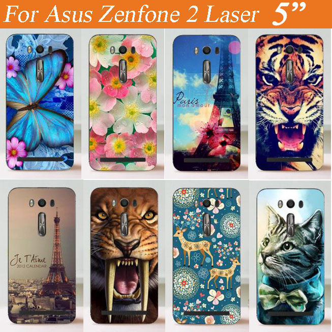For ASUS Zenfone 2 Laser / ZE500KL / ZE500KG / 5 inch Phone Case With Painting Colored tiger rose eiffel towers Hard Case Cover(China (Mainland))