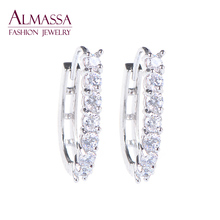 Almassa 2015 Trendy Jewelry for Women 18k Gold Platinum Plated Hoop Earrings White Austrian Crystal Zirconia Round Circle Earing(China (Mainland))