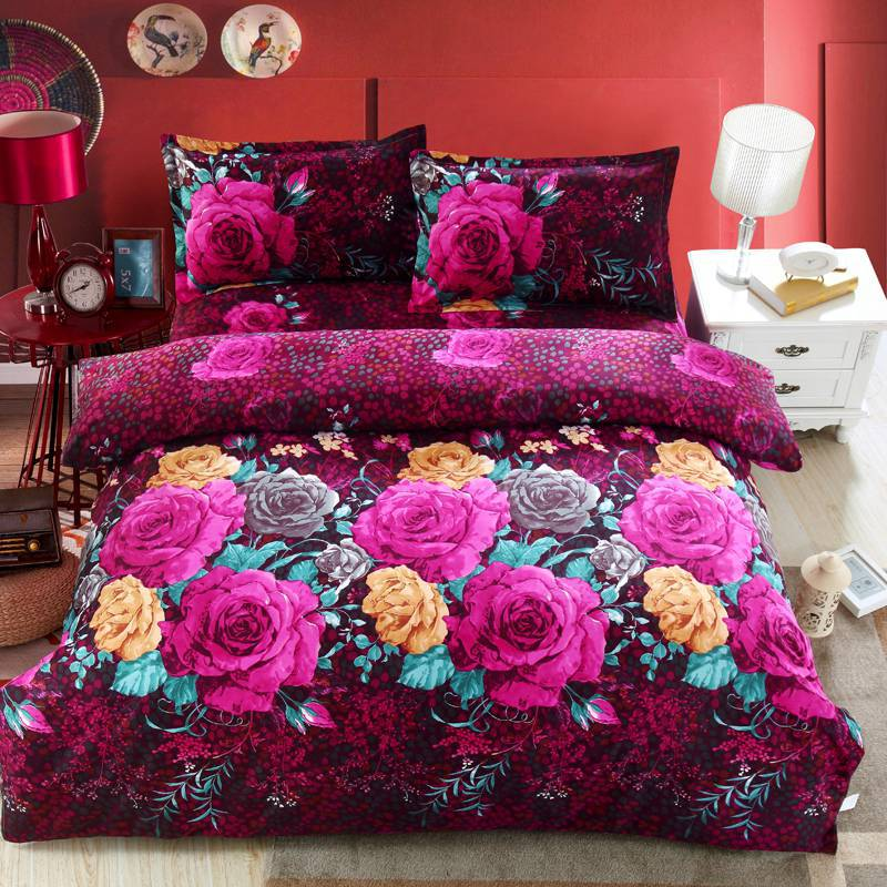 Home textile,Reactive Print 3D bedding sets luxury Full/Queen/King Size Bed Quilt/Doona/Duvet Cover Pillowcases Set New(China (Mainland))