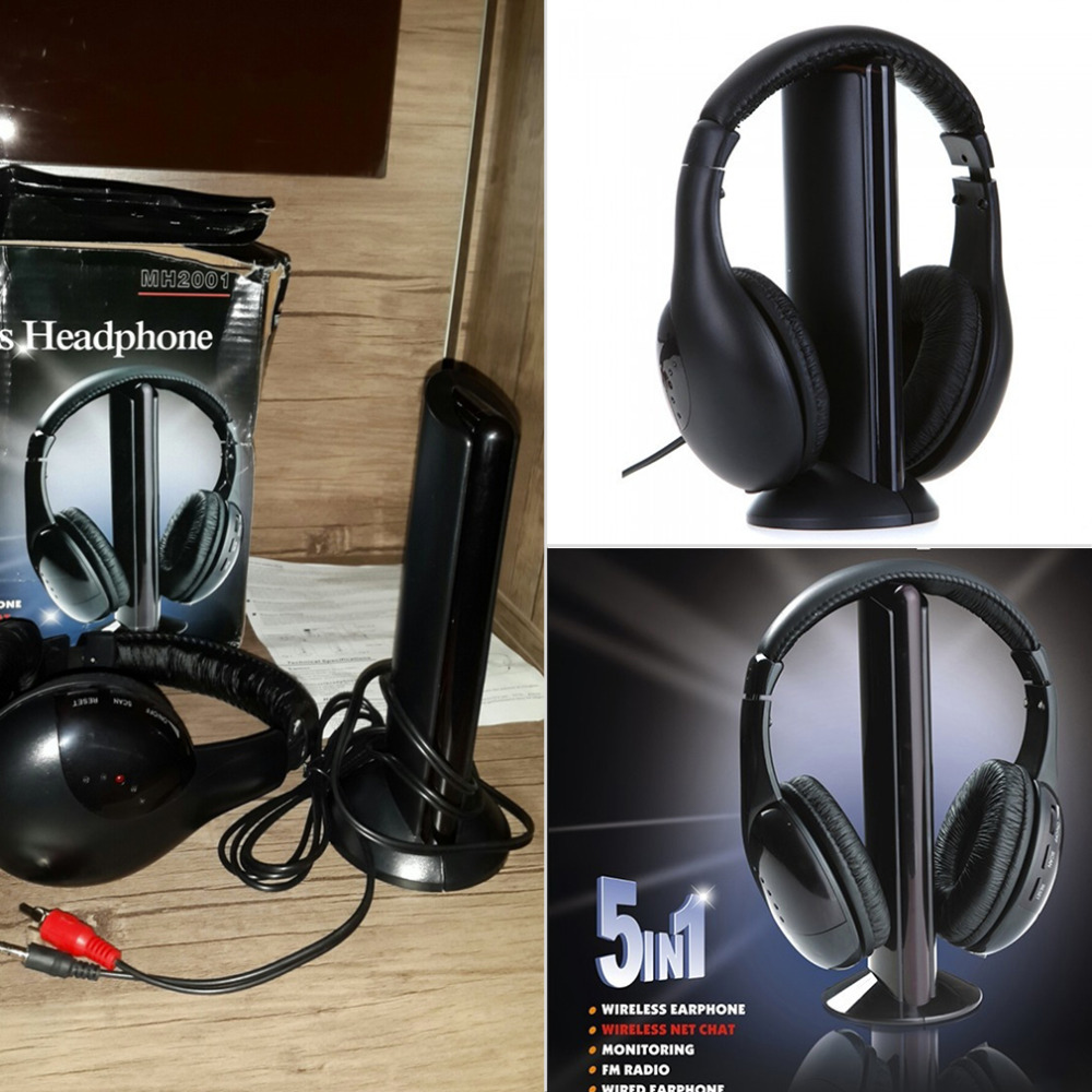 New 5 in 1 HiFi Wireless Headset FM Radio Monitor MP3 PC TV Audio Mobile Phones Wholesale<br><br>Aliexpress