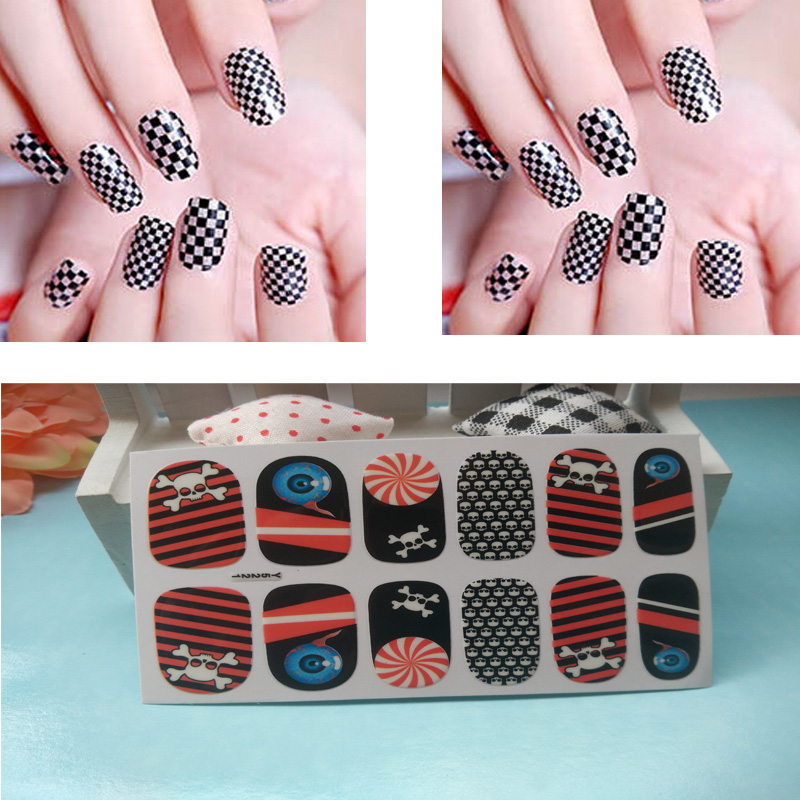 Full Nail WRAPS Art adhesive Sticker False Nails Foil decals Manicure Decor Tools Cover design shiny checks skull strips(China (Mainland))