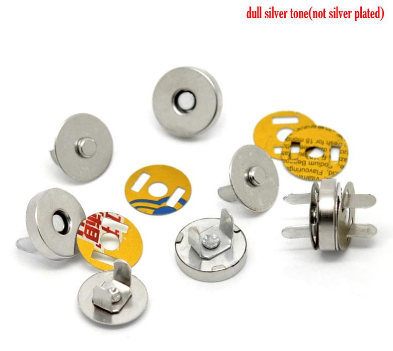 "20 Sets Silver Tone Magnetic Purse Snap Clasps/ Closure for Purse Handbag 14mm(4/8"") Dia. (B20766), yiwu(China (Mainland))"
