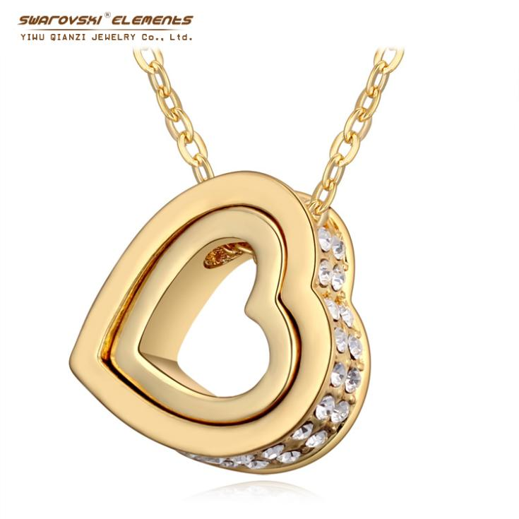 2015 Swarovski Elements Sweater chain pendant necklaces women fashion Lovers Valentine's Day gift heart long cz diamonds gold(China (Mainland))